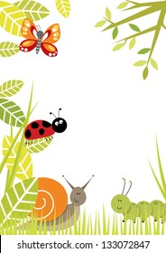 Bugs Border Portrait format bug/insect border with lots of copy space. Includes butterfly, ladybird, snail, caterpillar.