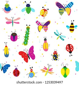 Bugs, butterflies and other insects seamless pattern, cute design. Vector graphic illustration