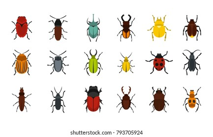 Bugs icon set. Flat set of bugs vector icons for web design isolated on white background