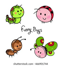 bugs in kids style. ant, butterfly and ladybug.