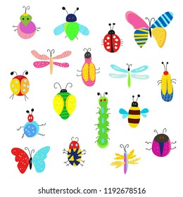 Bugs and other insects funny set, cute design. Vector graphic illustration
