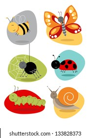 Bugs/Insects set cute characters Cartoon bugs and insect illustrations including bee, butterfly, spider, snail, spider, caterpillar, ladybird