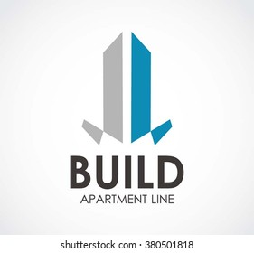 Build apartment of line abstract vector and logo design or template high property business icon of company identity symbol concept