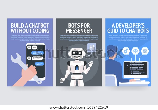 Build chatbot without coding. Bots for messenger. A developers guide to chatbots. Vector posters for business, site, banners, web, brochure cards, flyer, magazines, book cover.