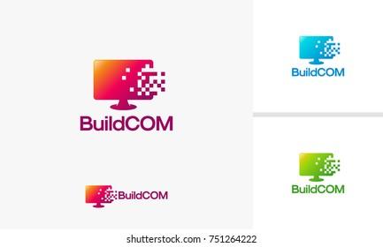 Build Computer logo template, Pixel Computer Technology logo designs vector