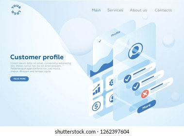 Build a customer profile in a mobile application. Data analysis and office situations. Isometric vector illustration. Landing page concept. Client profile online marketing dashboard design. Interface