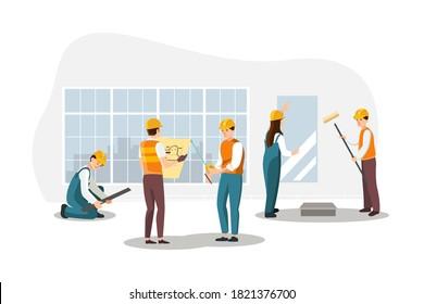 Build a decorating process. Renovation of rooms, repair of flat illustration.