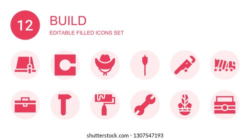 build icon set. Collection of 12 filled build icons included Hat, Code, Auger, Wrench, Toolbox, Hammer, Roller, Concrete