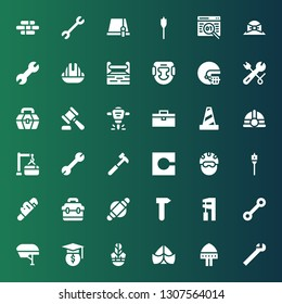 build icon set. Collection of 36 filled build icons included Wrench, Helmet, Hat, Hammer, Roller, Toolbox, Auger, Code, Maintenance, Traffic cone, Hydraulic breaker, Headgear