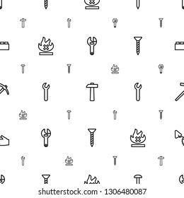 build icons pattern seamless white background. Included editable outline wrench, hammer, nail, no fire, screw, trowel, building block icons. build icons for web and mobile.