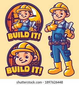 Build it Mascot Logo Template