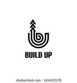 Build Up Modern Line Icon Vector Logo