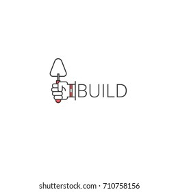 Build outline logo icon. Hand holding building trowel symbol. Vector Logotype applicable for construction, development, structure, master, architecture, builder classes