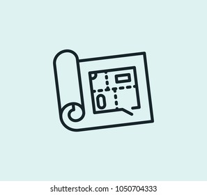 Build planning icon line isolated on clean background. Build planning icon concept drawing icon line in modern style. Vector illustration for your web site mobile logo app UI design.