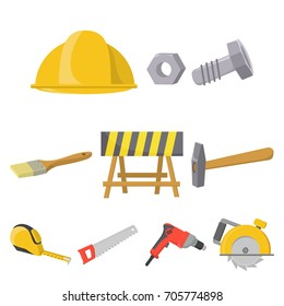 Build and repair set icons in cartoon style. Big collection of build and repair vector symbol stock illustration