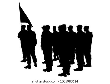 Build a soldier in uniform on white background