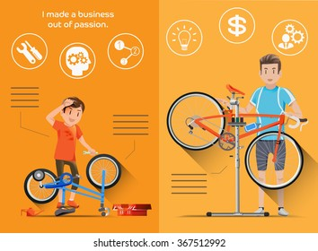 The build their own business from childhood in flat graphic style. People who are passionate bike to build bicycle shop.