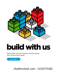 Build With Us Hiring Poster With Building Blocks Vector Illustration