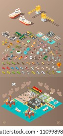 Build Your Own City . Set of Isolated Minimal City Vector Elements on Dark Background