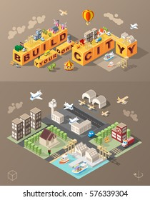 Build Your Own City . Set of Isolated Minimal City Vector Elements