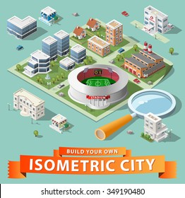 Build Your Own Isometric City. Vector Elements.