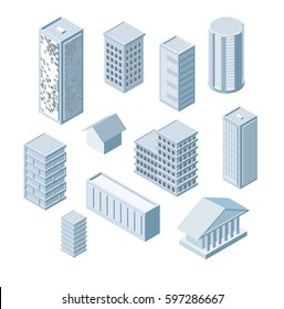 Build Your Own Isometric City. Vector Elements. Skyscrapers, apartment, office, houses and streets with urban traffic movement of the car with trees and nature, City constructor set, collection