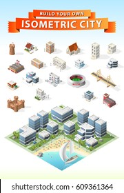 Build Your Own Isometric City . Isolated Vector Element