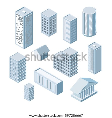 Build Your Own Isometric City Vector Stock Vector (Royalty Free ...