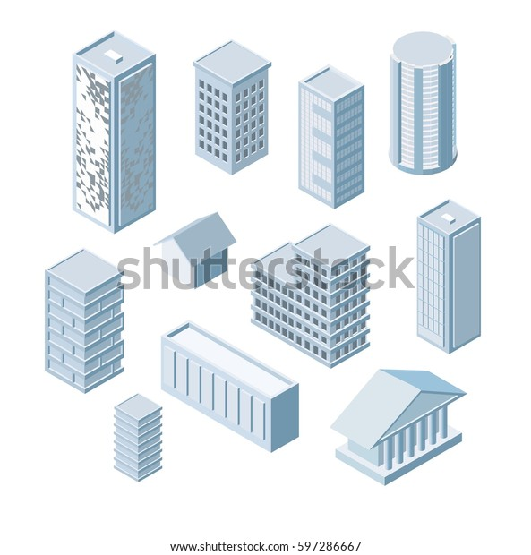 Build Your Own Isometric City Vector Stock Vector (Royalty ...