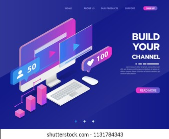 build your own video blog channel, social media marketing. sharing creative idea concept. vector illustration