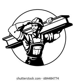 The builder bears the rail. Logo black. Construction Steel Worker. Flat style vector illustration clipart.