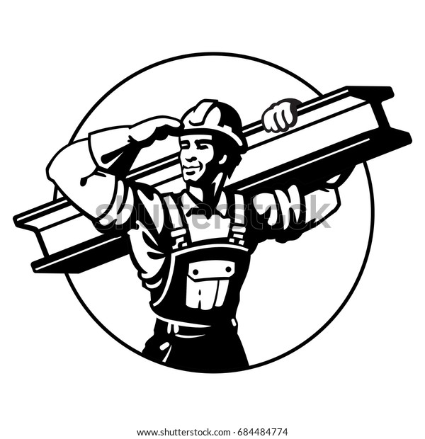 The builder bears the rail. Logo black. Construction Steel Worker. Flat style vector illustration clipart.