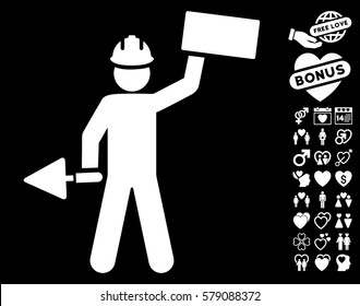 Builder With Brick icon with bonus valentine images. Vector illustration style is flat iconic white symbols on black background.