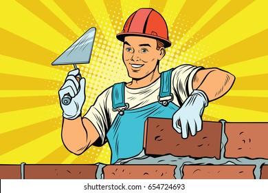 Builder brickwork. Construction and repair. Pop art retro vector illustration