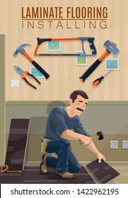Builder, carpenter or joiner installing laminate flooring with work tools vector design. Cartoon man laying laminate panels with hammers, screwdriver and saw, pliers, tape measure and ruler