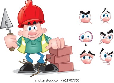 Builder cartoon with different expressions