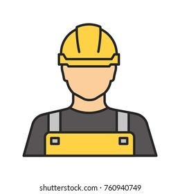 Builder color icon. Construction worker. Isolated vector illustration