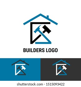 Builder construction business template with symbol of house, apartment, building material and construction illustration. Logo isolated in white background.