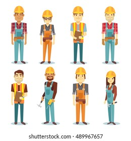 Builder contractor man and female worker vector people character set. Worker male and professional engineer illustration