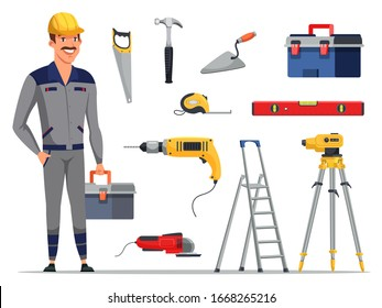 Builder engineer man wearing uniform, protective helmet with tools box and construction instruments, equipment set. House repair and building. Vector flat cartoon illustration isolated on white