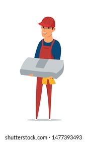 Builder flat vector illustration. Worker holding building materials, grey package male character on white background. Smiling handyman wearing uniform and safety helmet isolated clipart