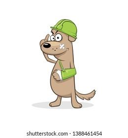 Builder in green helmet broken hand cast vector illustration