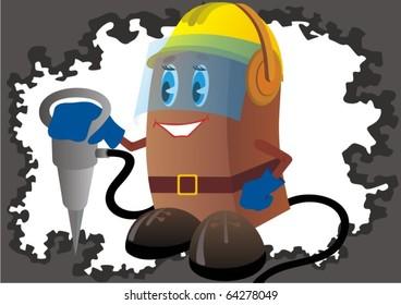 Builder in a helmet and headphones keeps the hammer.