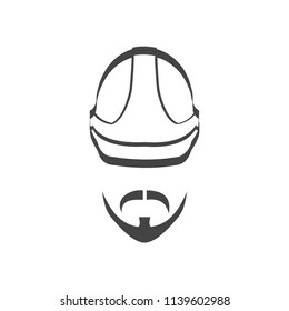 Builder helmet with mustache and beard isolated logotype icon