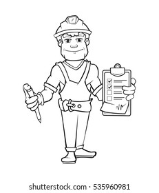 builder in helmet standing and holding order paper and pen in his hands. Linear style vector illustration
