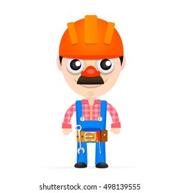 Builder in a helmet with tools isolated on white background