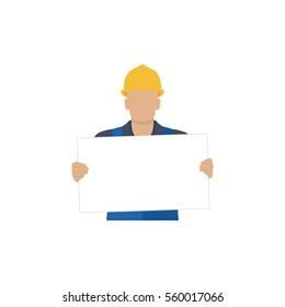 Builder holding a blank white form. Vector illustration.
