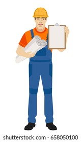 Builder holding the project plans and and clipboard. Full length portrait of builder character in a flat style. Vector illustration.