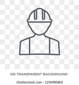 Builder icon. Trendy flat vector Builder icon on transparent background from Professions collection. High quality filled Builder symbol use for web and mobile