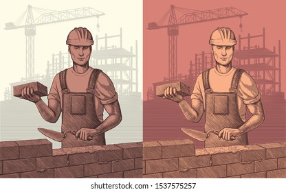 The builder is laying the wall. Design set. Hand drawn engraving. Editable vector vintage illustration. Isolated on light and dark backgrounds. 8 EPS